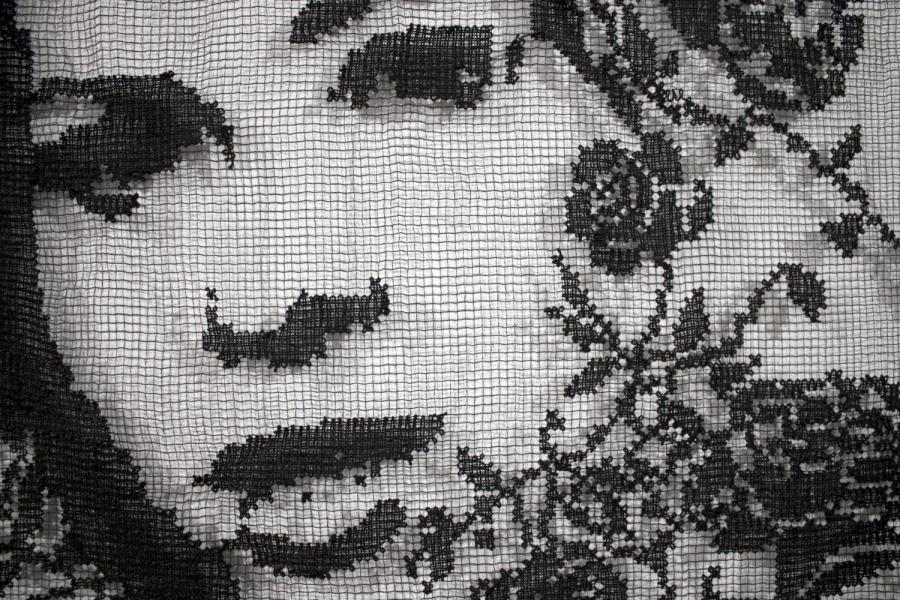 Detail image of a lace portrait