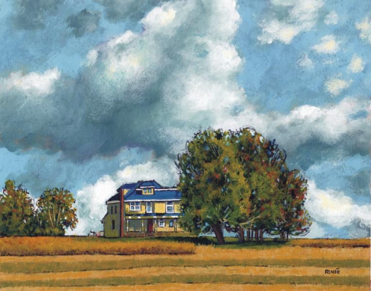 landscape, acrylic, painting