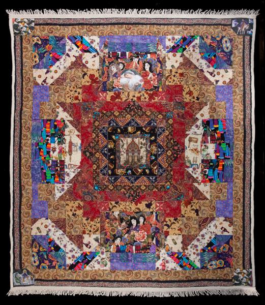 The quilt tells the story of the Book of Esther and the Jewish Holiday of Purim.  Because the story takes place in ancient Persia, and Purim is a Masquerade holiday, the quilt itself is masquerading as a Persian rug.
