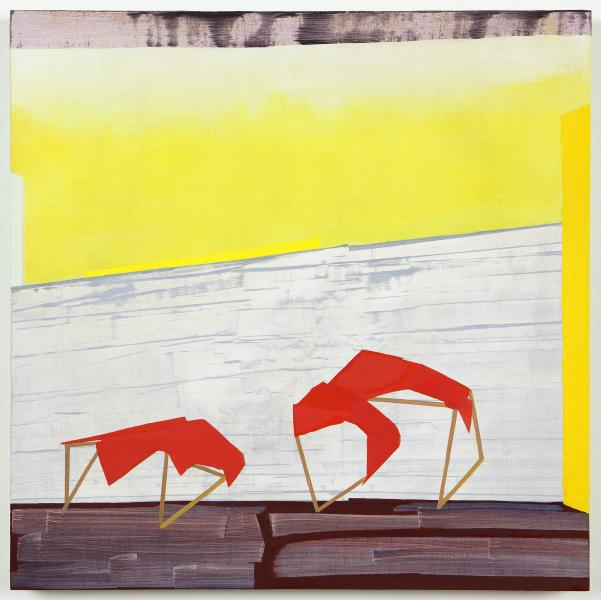 Yellow and red oil on panel painting by Magnolia Laurie of walls and fragile tent structures.