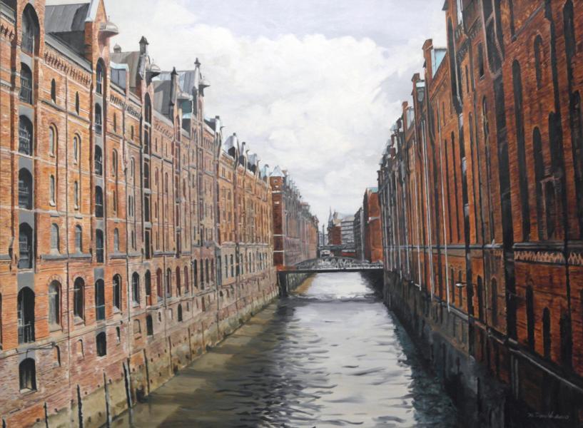 Oil on board, detailed work, Hamburg warehouse district, cityscape