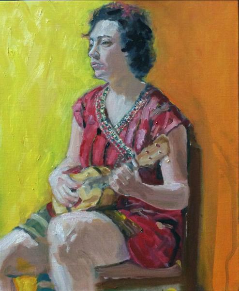 Ukulele, portrait, oil painting