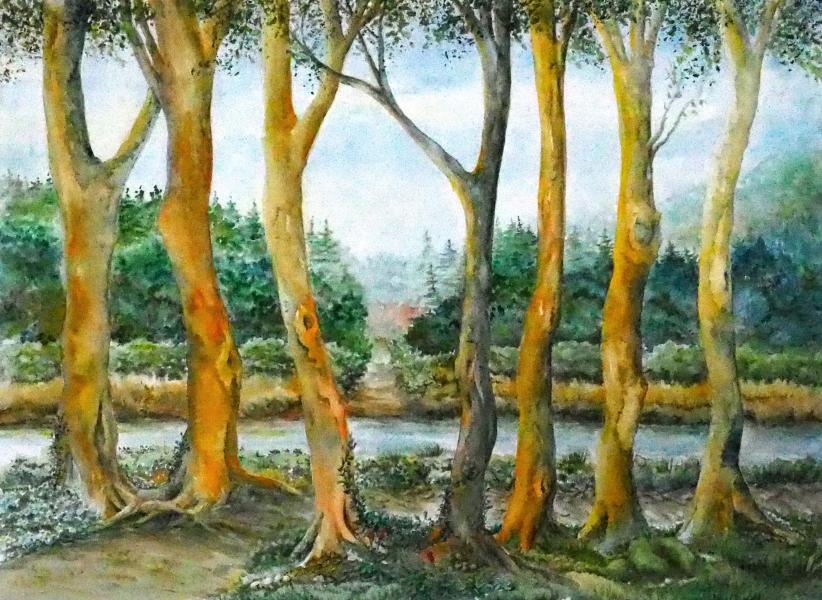watercolor, forest, trees, path, contemporary, landscape, painting, family, marriage, horizon, stream, path, union