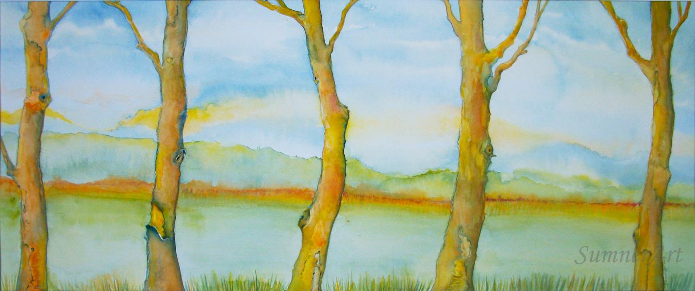 trees, landscape, gathering, relationship, blue skies, symbolism, contemporary painting, family