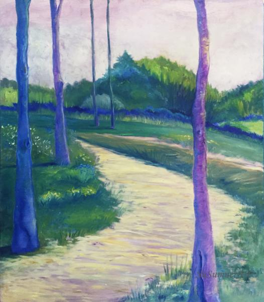 trees, landscape, gathering, relationship, clear skies, beauty, purple, blue, contemporary landscape, path