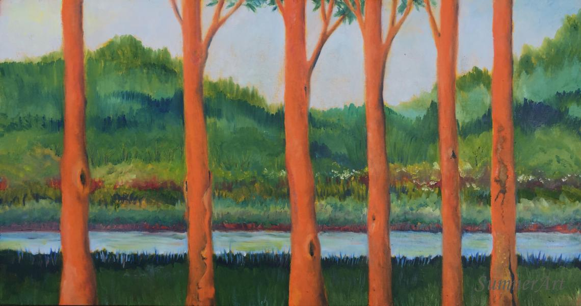 trees, orange, contemporary landscape, stream, gathering, family, oil painting
