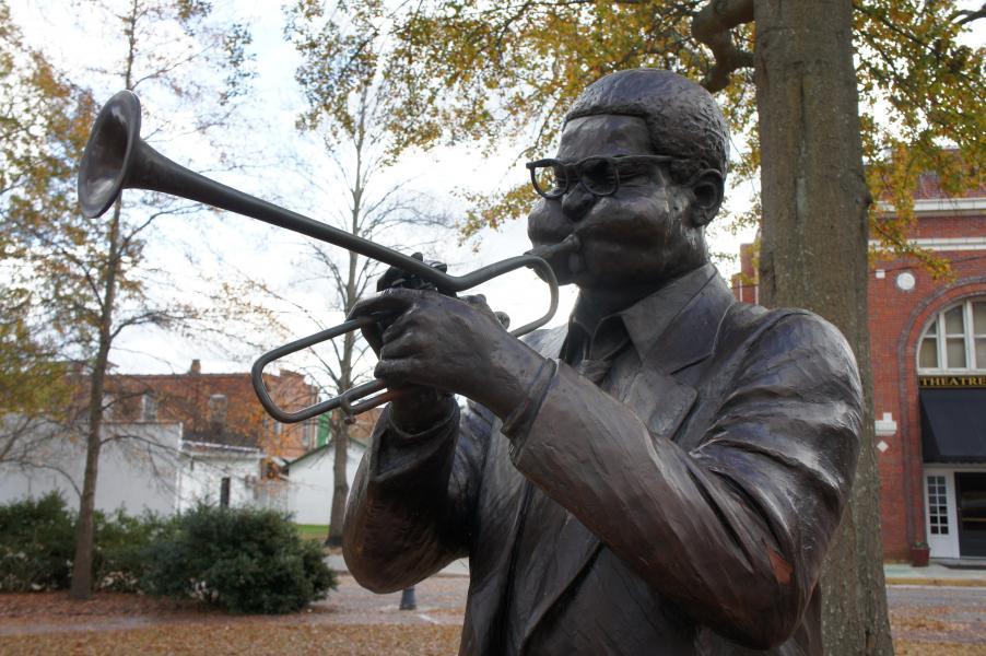 a photograph of a statue of Dizzy Gillespie, taken by Jennifer N. Shannon