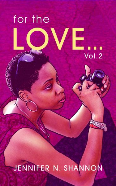 A book cover which has a bright purple-ish cover of a photo-drawing combined of the author holding a camera.