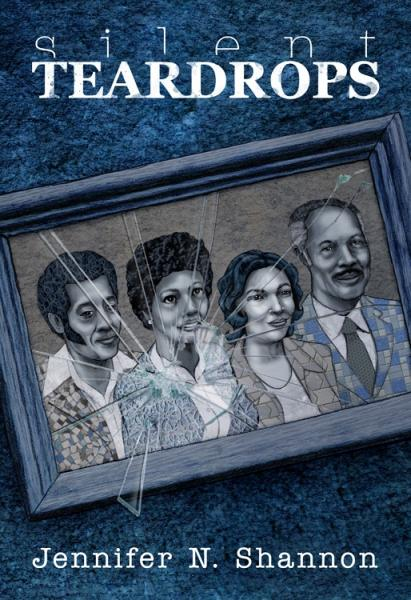 the book cover of Silent Teardrops which features a family in a broken picture frame