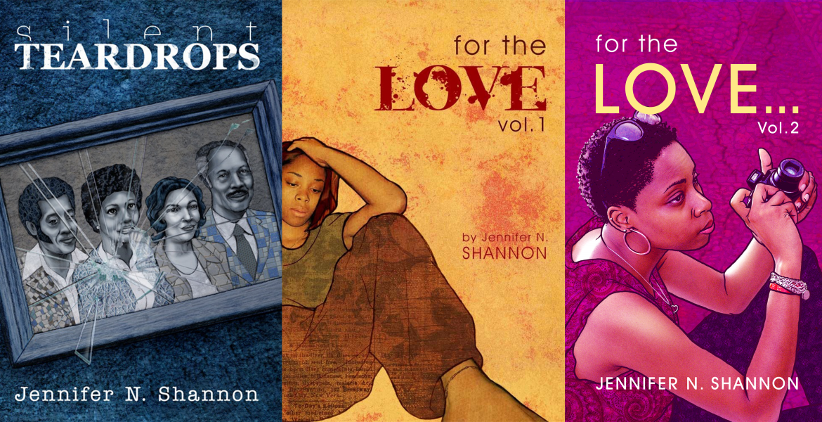Three book covers of work by Jennifer N. Shannon