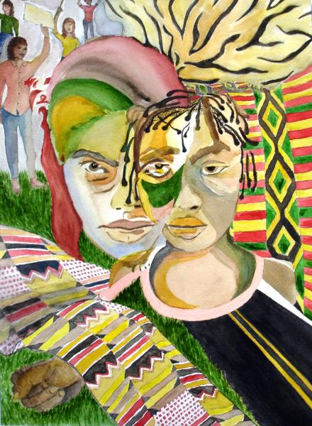 Watercolor of two women working together for change