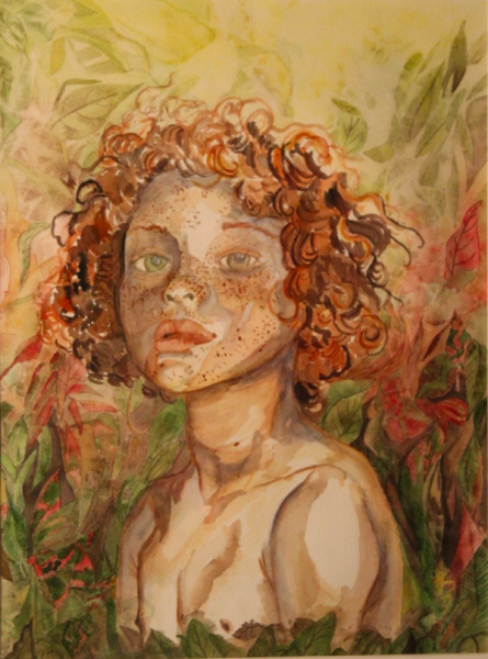 Painting depicting an androgenous child in a natural setting.