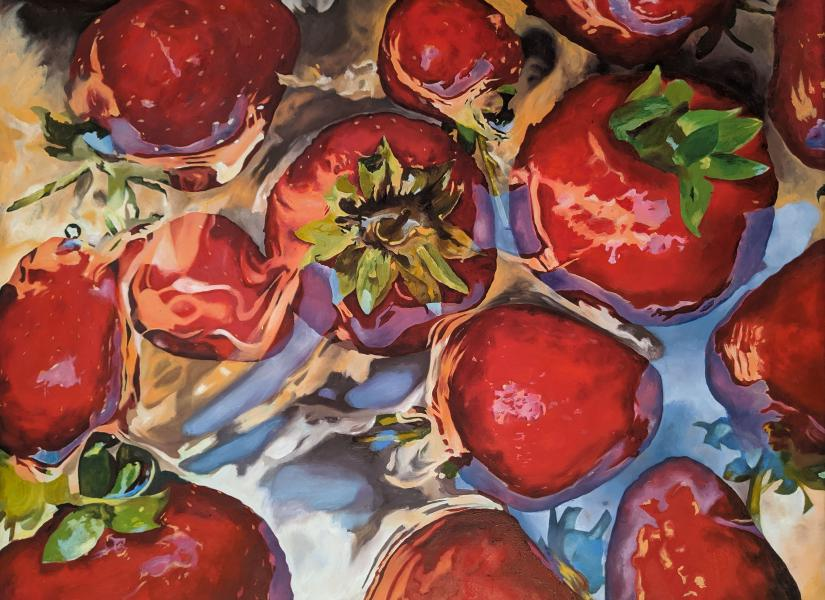Oil painting on canvas representing strawberries floating in water