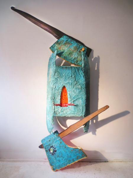 sculpture, installation, metal, wood. gold.