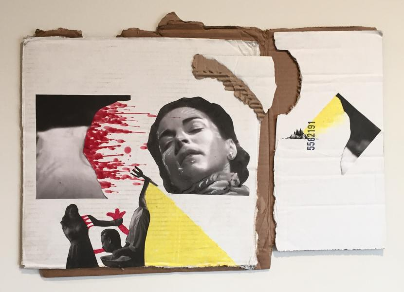 A mixed media artwork made with white cardboard, images from Isle of the Dead 1945, and red wax.