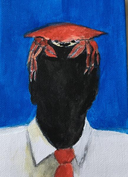 crab, abstract portrait, painting