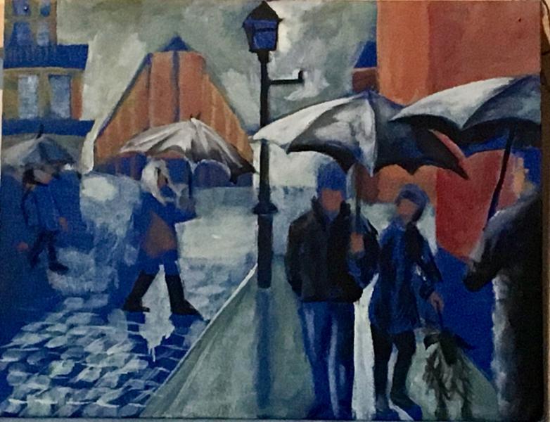 painting, landscape, city, rain