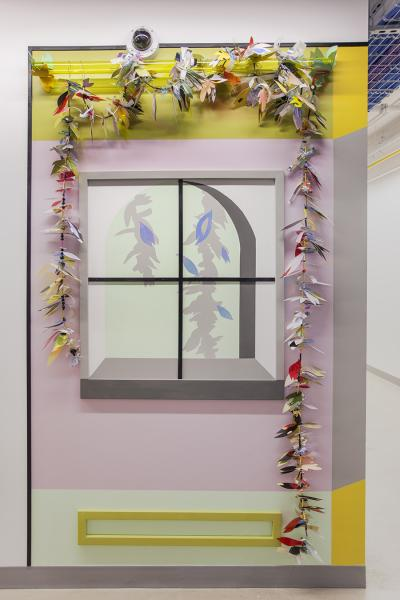 installation art, windows, garlands, beauty