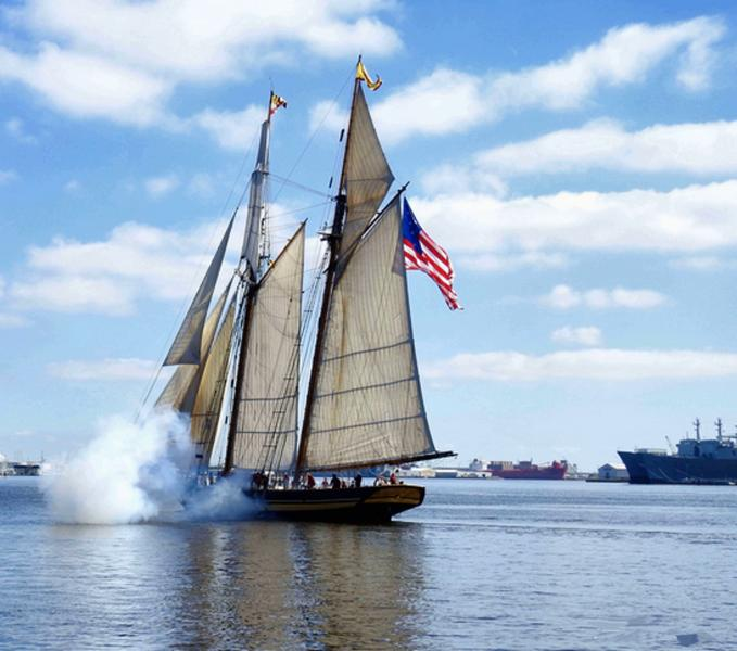 The Pride of Baltimore II Fires off its Guns