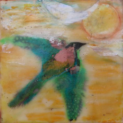 Soar,Bird,Feathers,Child,Dream,Flight,Encaustic