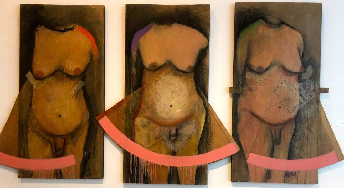 transgender, queer art. figurative, figure, painting, collage. oil painting