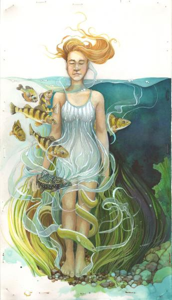 Woman standing neck-deep in water, surrounded by fish and grasses