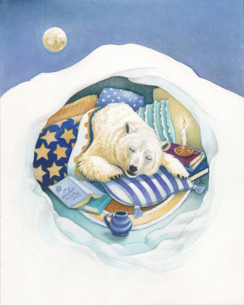 sleeping polar bear in den with cozy blankets, pillows, books, and mug