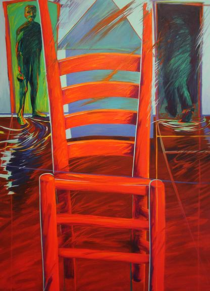 oil, chair, red