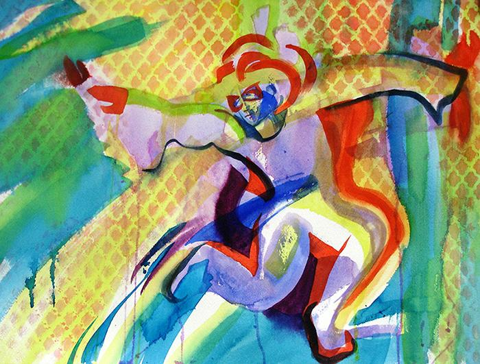 An actively dancing figure with Mardi Gras like pattern and color moves across the page.