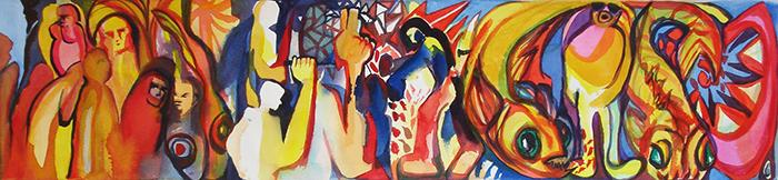 """Brightly colorful """"raging"""" people and fish"""