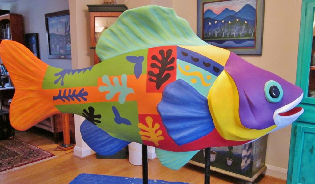 6 foot fiberglass fish painted with designs by Matissse