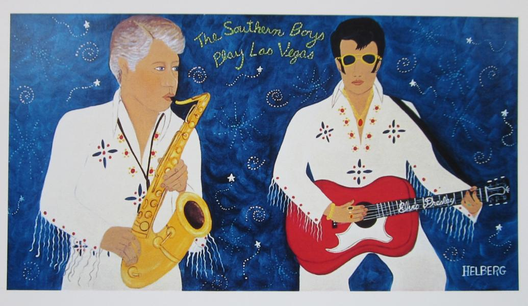 Painting to Bill Clinton and Elvis Presley playing music together