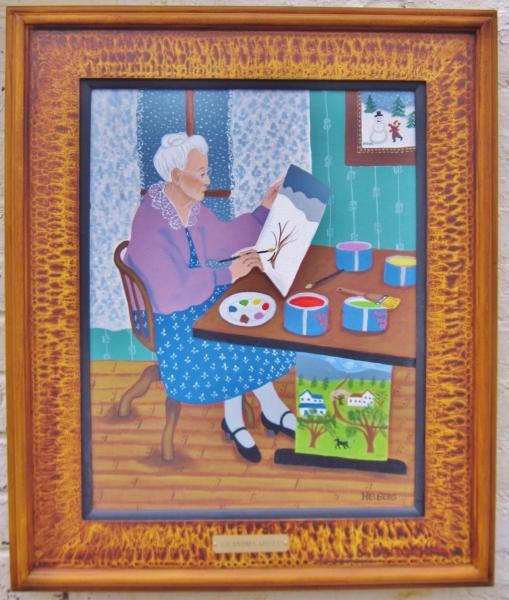 Portrait of Grandma Moses with vinegar grained frame