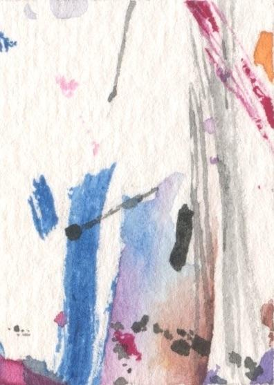 watercolor, gouache, abstract painting, tiny painting
