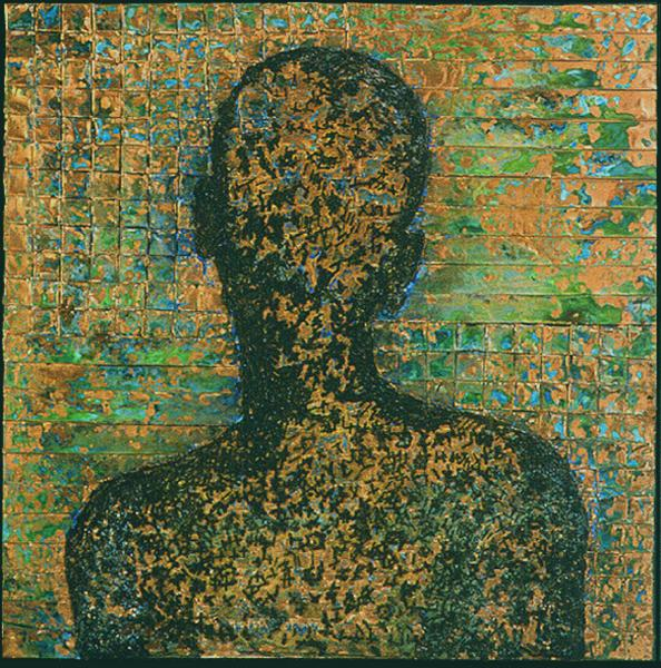 Portrait of the homeless.  Woven scrap copper. Portrait executed with staples, oxidation achieved with muriatic acid.