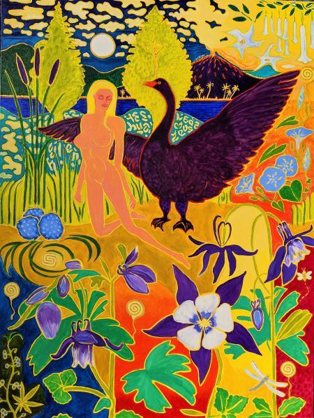 Colorful , Magic Realism , New Romanticism,Hope,Volcano,Leda and the Swan,Columbine,bull-rushes,Greek,myth