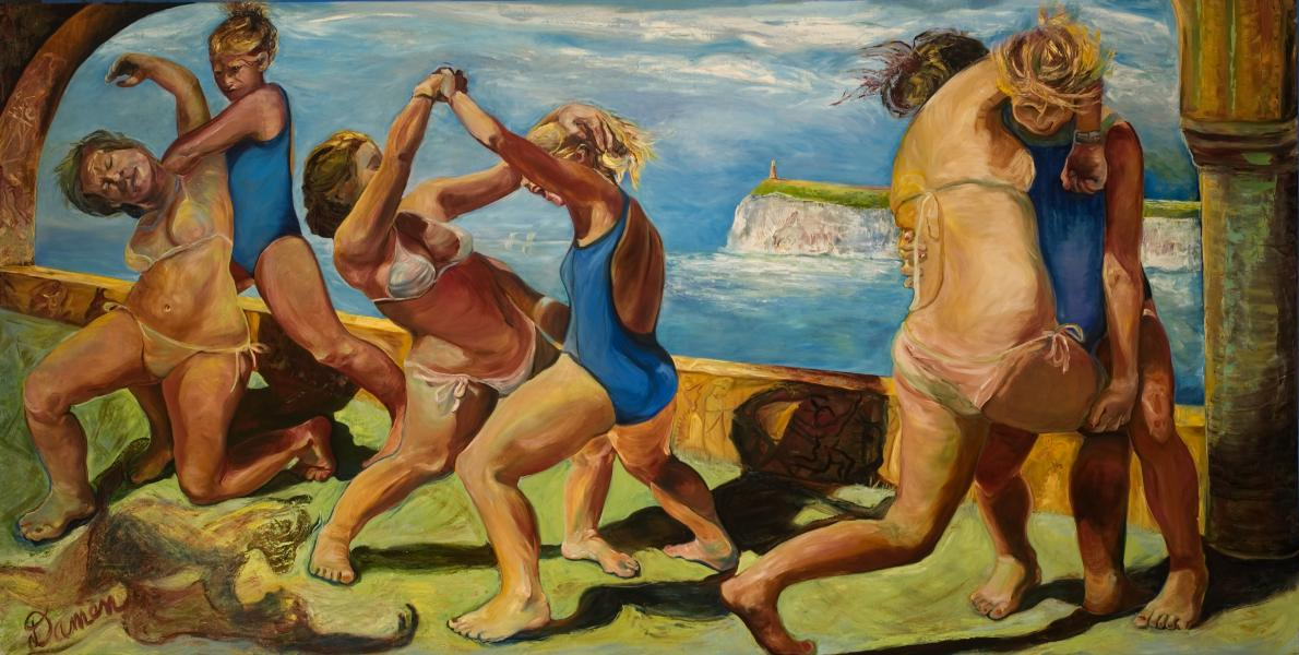 63 x 127 inches oil on canvas, women wrestling, Myth Ariadne, distant seascape, copulating bull and woman