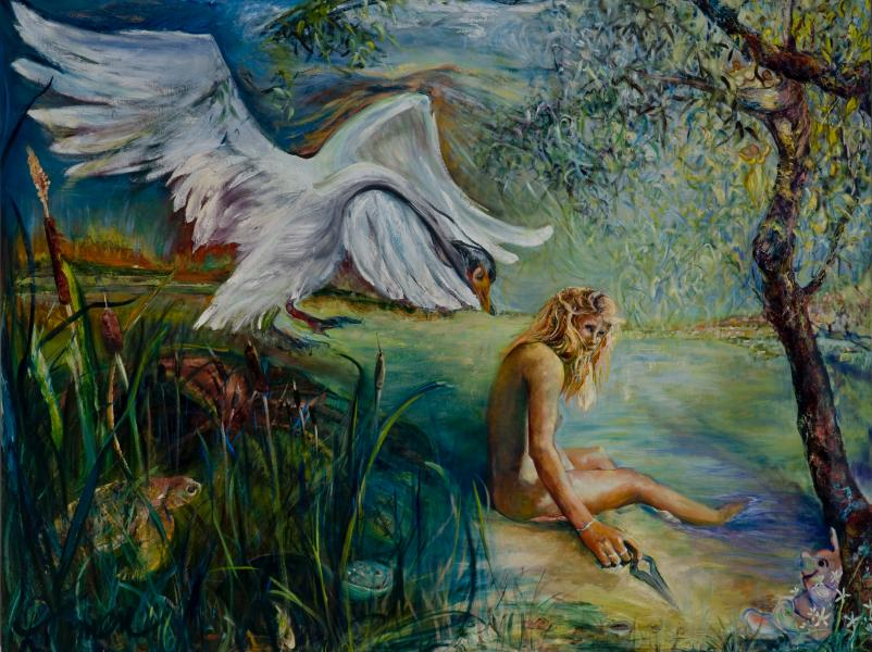 myth of Leda, oil painting,