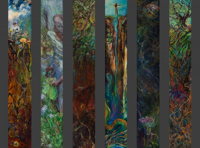 """six sliver oil paintings, each 81 x 12"""", child in meadow, roots, flowers, garden fleeting, woman waving, white oak, fossils, boy leaping into a well, nebula, fireflies, old woman, rebirth"""