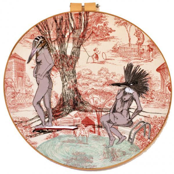 fiberart, thread drawing, figure, kingfisher, woodcock, freehand machine stitched