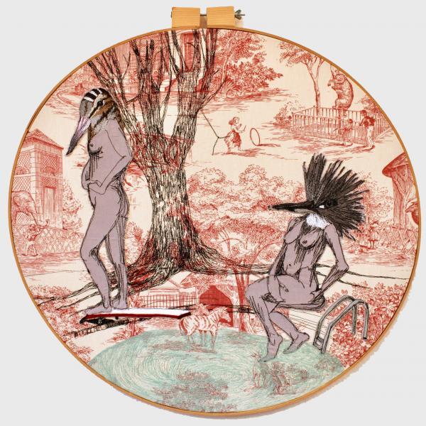 fiberart, thread drawing, figure, bird headed women, king fisher, woodcock