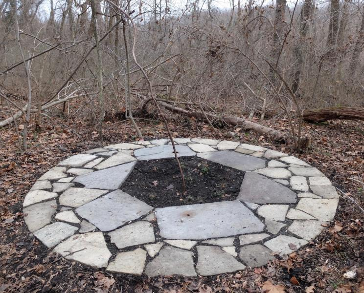 Pollinator plants, earthart, land art, passionflower, mountain mint, stone circle, bluestone