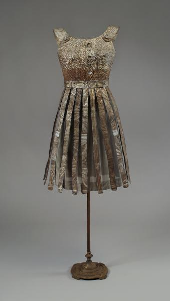 Dress sculpture made of repurposed vintage ceiling tin