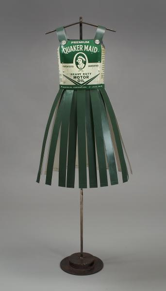 Team Quaker Maid, created of vintage oil cans and steel. Resembled a vintage cheerleader's outfit.