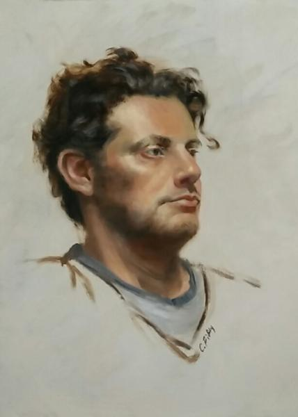 Color study of a model, Alex. 12x16  inches, oil on canvas.