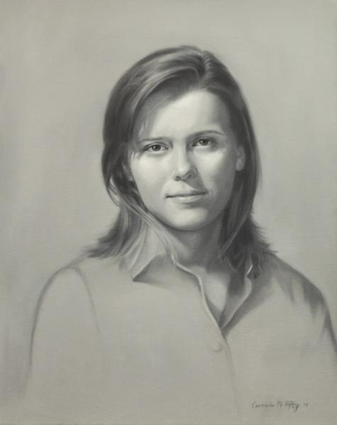 This is a grisaille of a young woman, Sam. It is 16x20 inches.