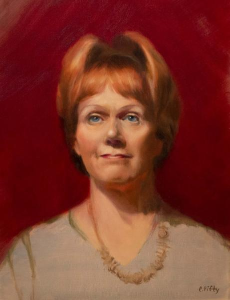 """12"""" by 16"""" color oil painting of the model, Ellen."""