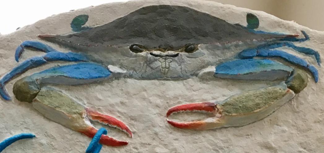 Blue Crab, Baltimore's Icon, cement relief sculpture