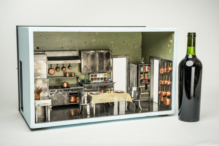 French cooking, Julia Child, Julia Childs, food art, miniature art, mini art, metal sculpture, vignette