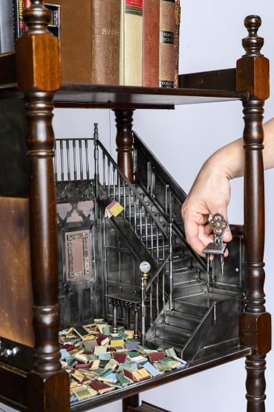 Fahrenheit 451, Ray Bradbury, Julie Christie, Francois Truffaut, miniature art, literary art, metal sculpture, library art, book art